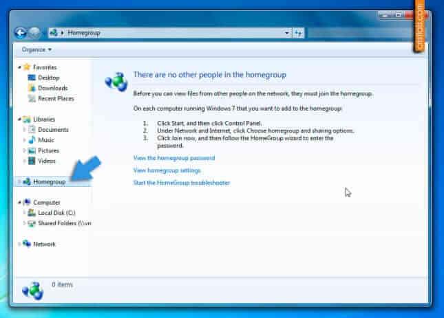 Elimina Homegroup din Windows Explorer