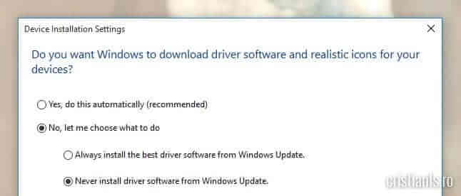 never install driver software from windows update