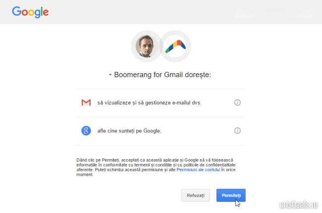 autorizare boomerang for gmail