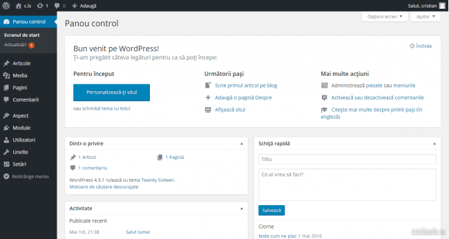 panoul de control wordpress