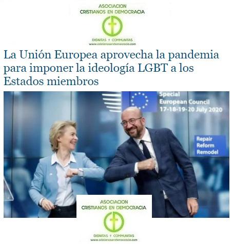 Europa impondrá LGTBI con las ayudas por la pandemia.