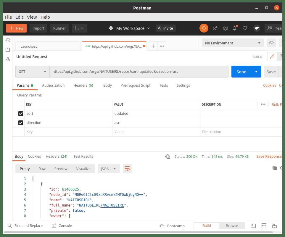 Github API listar repositorios de Organización