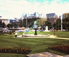 The Empress Hotel behind the fountain