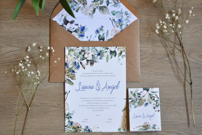 Wedding Invitation With Magnolias And