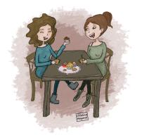 amistad, amigo, amiga, cristina mayoral, ilustración, café, té, equilibrio