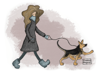 ilustracion, cristina mayoral, dibujos, perro, perrincesa, pasear