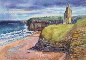 Ballybunion castle ruins Ireland artistic watercolor inting Cristina Movileanu