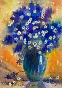 Blue flowers and chamomile on orange-yellow background still life watercolor painting by Cristina Movileanu