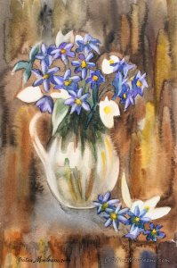 Blue flowers on a brown background still life watercolor painting by Cristina Movileanu