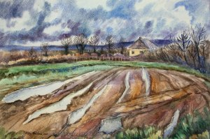 Countryside after the rain watercolor landscape painting