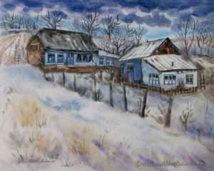 Houses in the hilltop winter rural landscape watercolor painting by Cristina Movileanu