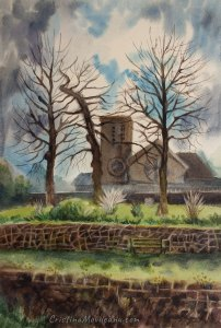 NewCastleWest Catholic church watercolor painting by Cristina Movileanu