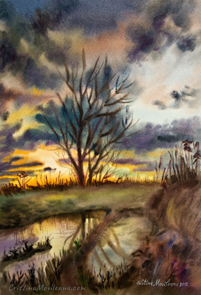 october, sunset, mood, water, reflection, tree, wet-on-wet, art, artistic, watercolor, painting, Cristina Movileanu