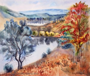 trees, village, lakes, ponds, water, reflection, autumn, colorful, art, artistic, watercolor, painting, Cristina Movileanu