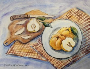 Quinces on a plate, with knife and pears on a table still life watercolor painting by Cristina Movileanu