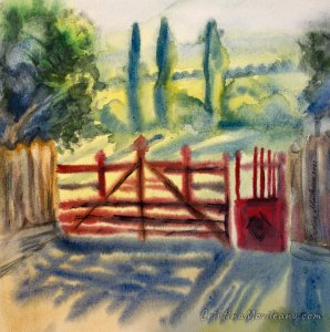 Red gate and poplars landscape watercolor painting by Cristina Movileanu