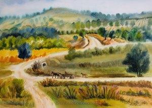 road, distance, Secareni, village, landscape, colorful, art, artistic, watercolor, painting, Cristina Movileanu