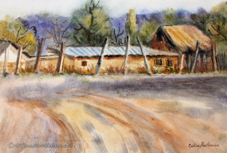 Rural settlement, houses, colorful, landscape, art, artistic, watercolor, painting, Cristina Movileanu