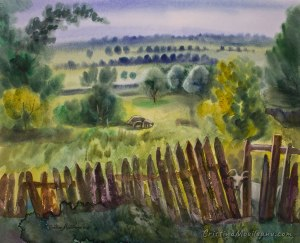 summer, green, goat, fence, art, landscape, artistic, watercolor, painting, Cristina Movileanu