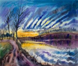 sunset, river, dramatic, sky, colorful, art, landscape, artistic, watercolor, painting, Cristina Movileanu