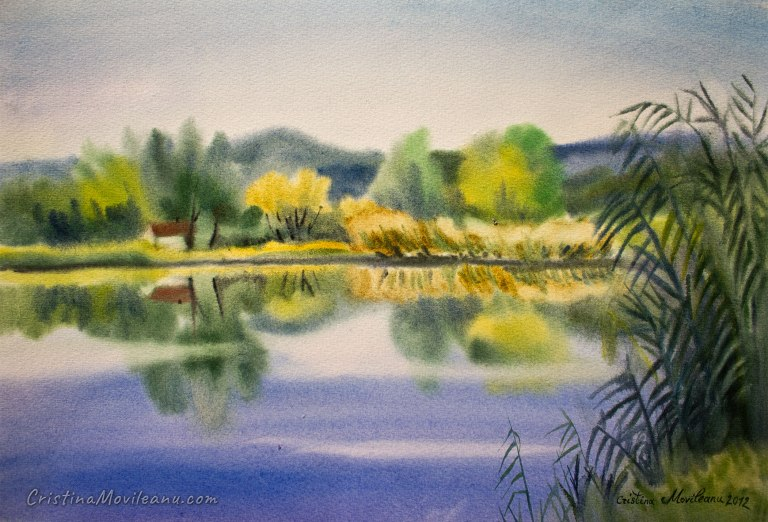 green, september, lake, pond, landscape, water, trees reflections, art, artistic, watercolor, painting, Cristina Movileanu