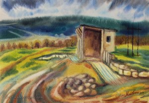 the spring house, landscape, art, artistic, watercolor, painting, Cristina Movileanu