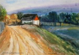 to the spring, house, Secareni, village, landscape, landscape, orange, blue, deep, art, artistic, watercolor, painting, Cristina Movileanu