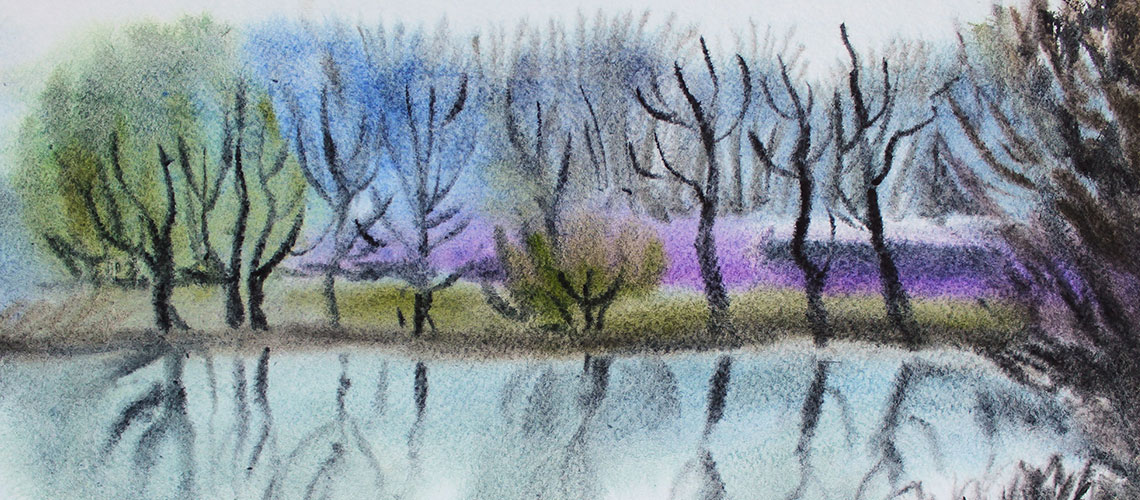 Watercolor, lake, trees
