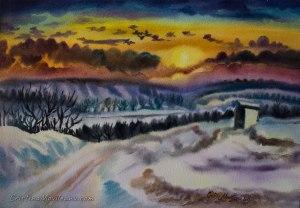 winter, sunset, landscape, Secareni, village, art, artistic, watercolor, painting, Cristina Movileanu