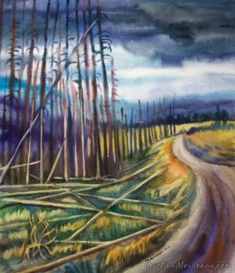 landscape, Yellowstone National Park, road, art, artistic, watercolor, painting, Cristina Movileanu