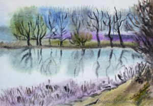 trees, lake, reflections, landscape, art, artistic, watercolor, painting, Cristina Movileanu