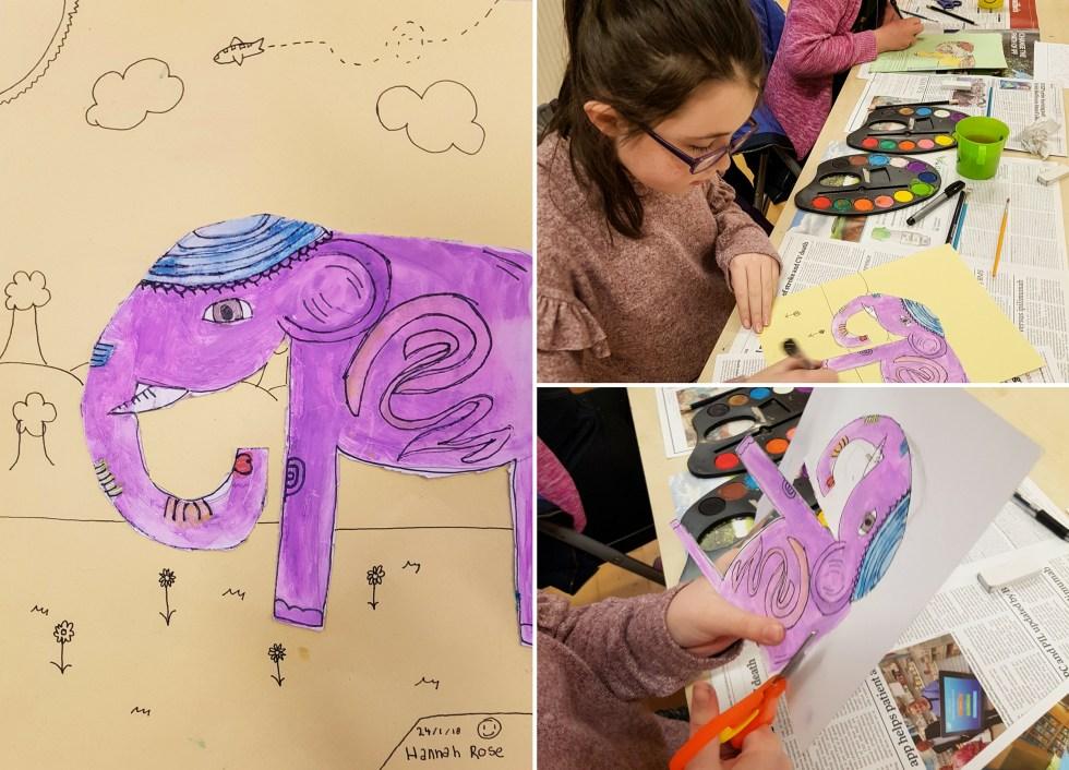 Hannah Rose Indian Elephant painting at Tyrrelstown art class