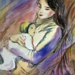 Mother and child, motherhood watercolor painting by Cristina Movileanu