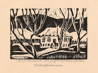 Old house 2012, linocut,14×9 cm