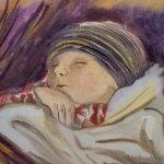 Cute watercolor painting of baby sleeping