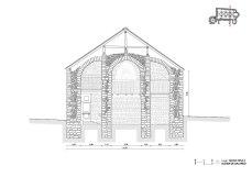 Salardu, church, vall d'aran, drawing, stones, well drawn, beautiful, precision, section