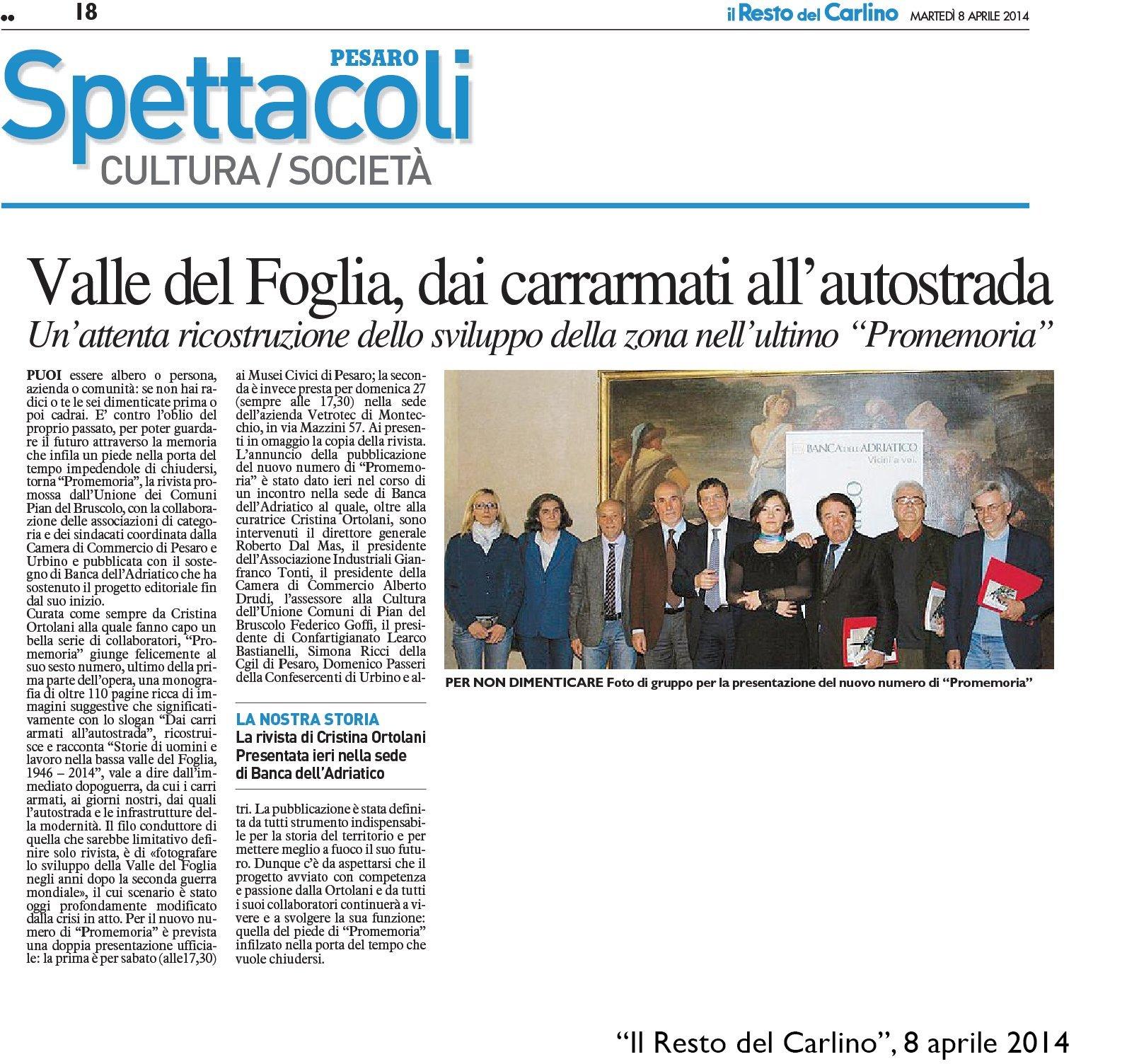 """""""Il Resto del Carlino"""" Pesaro, 8 aprile 2014"""