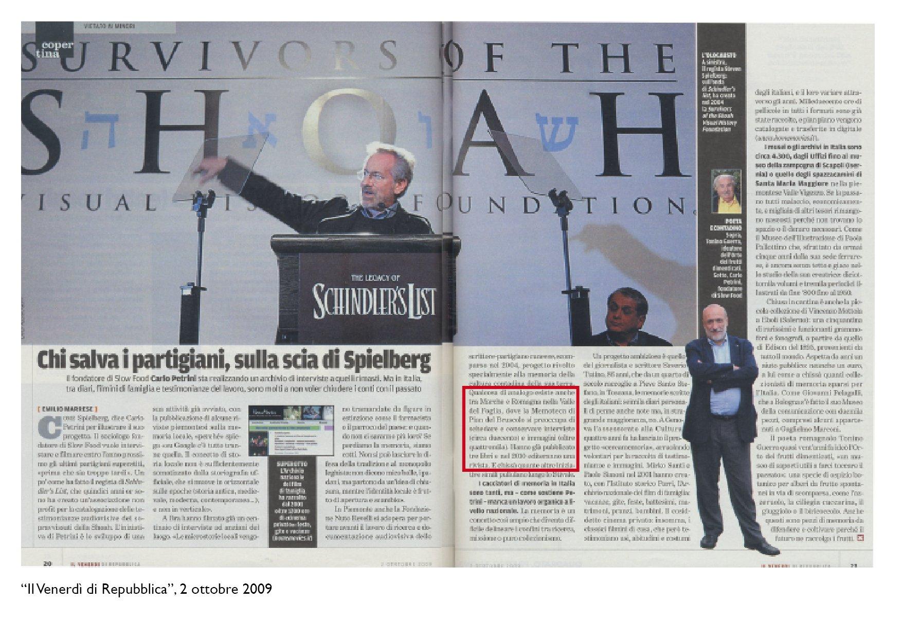 """""""Il Venerdì di Repubblica"""", 2 ottobre 2009"""