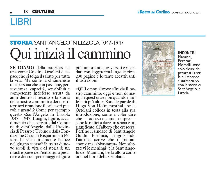 """""""Il Resto del Carlino"""" Pesaro, 10 agosto 2013"""