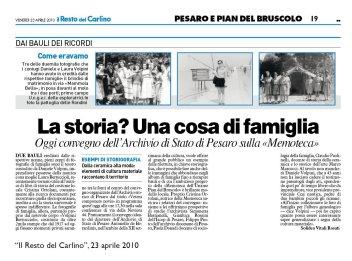 """""""Il Resto del Carlino"""" Pesaro, 23 aprile 2010"""