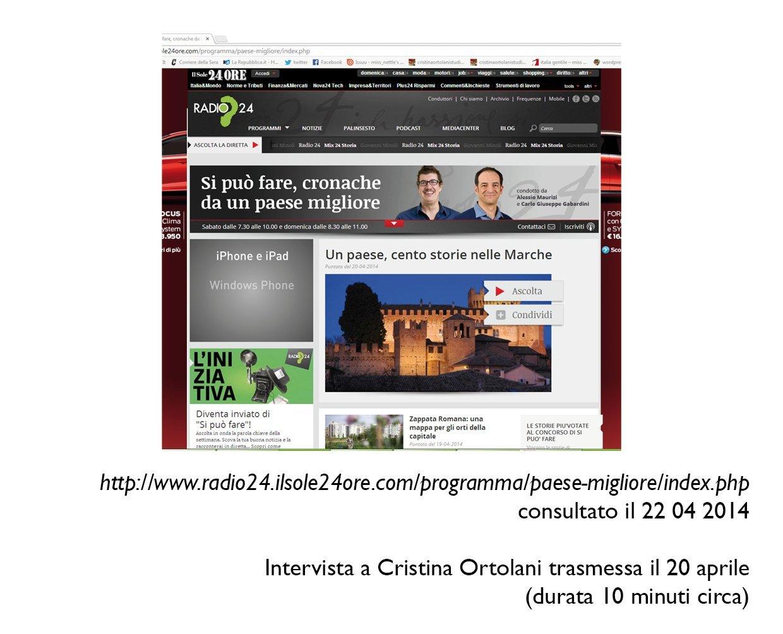 """""""Si può fare"""", Radio 24, 20 aprile 2014"""