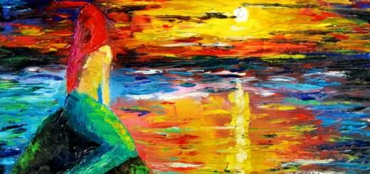 Mermaid at Sunset Oil Painting