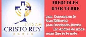 Cristo Rey Radio En Vivo Miercoles 4 Octubre 7am – 11am