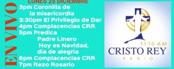 Cristo Rey Radio En Vivo Lunes 25 Diciembre 3pm a 7pm
