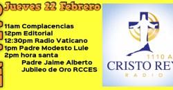 Cristo Rey Radio En Vivo Juev 22 Febrero 11am a 3pm