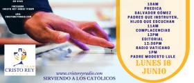 Cristo Rey Radio En Vivo Lun 18 Junio 10am a 2pm