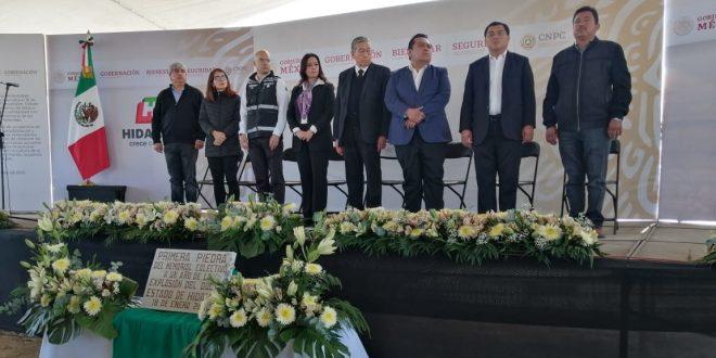 Colocan primera piedra de memorial en zona cero de Tlahuelilpan