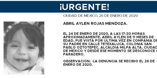 Se busca a Abril Aylen Rojas Mendoza, de 11 meses de edad