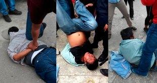 Comerciantes golpean a dos presuntos ladrones en Huejutla