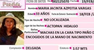 María Jacinta Azpeitia desapareció en Actopan el pasado 18 de febrero